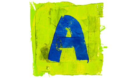 yellowish: Letter A symbol of blue paintbrushes on yellowish green square of paint