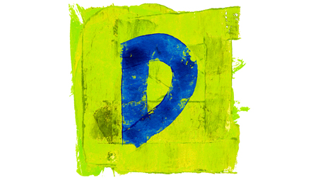 yellowish: Letter D sign of blue paintbrushes on yellowish green square of paint Stock Photo