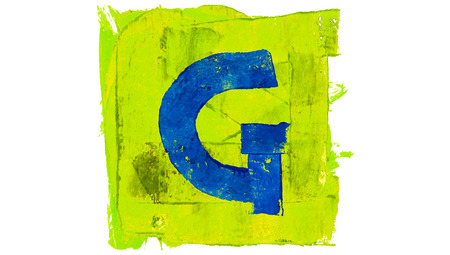 greenish blue: Letter G sign of alphabet in blue and green paint colors