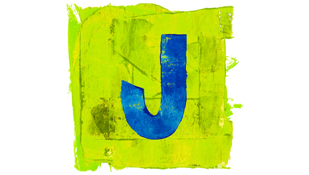 greenish blue: Letter J symbol of blue paintbrushes on yellowish green square of paint