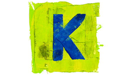 greenish blue: Letter K sign of blue paintbrushes on yellowish green square of paint Stock Photo