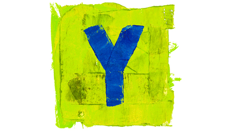 greenish blue: Letter Y character painted with bright paint colors