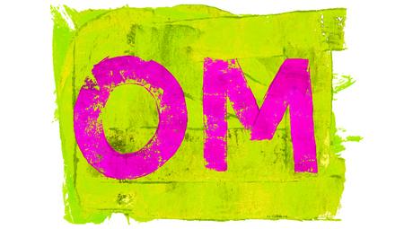 yellowish: Pink om painted on yellowish green Stock Photo