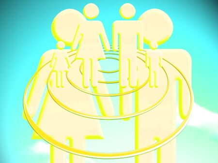 stock image: Couple projecting a family conceptual illustration stock image