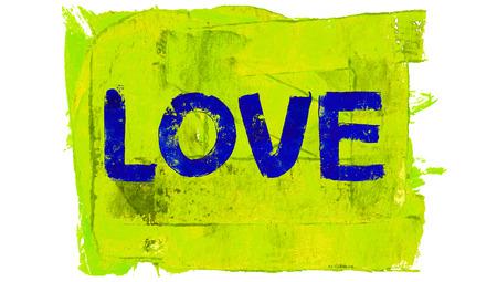 yellowish: Blue love painted word on yellowish green background