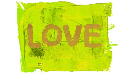 yellowish green: Love word on yellow paint Stock Photo