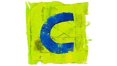 yellowish: Letter C on blue paintbrushes on yellowish green square of paint