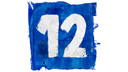 number 12: Number 12 of blue paint art calendar day square Stock Photo