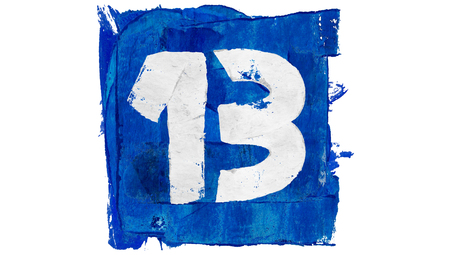 13: Number 13 of blue paint art calendar day square