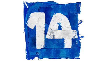 number 14: Number 14 of blue paint art calendar day square