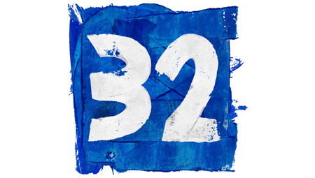 32: Number 32 in blue painting square Stock Photo