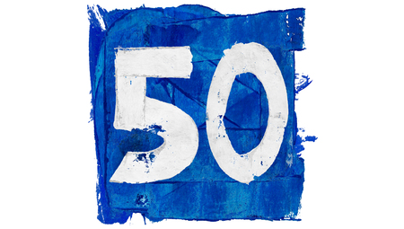 50 number: Number 50 painted in blue square