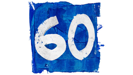 60: Number 60 of blue artistic paintbrushes Stock Photo