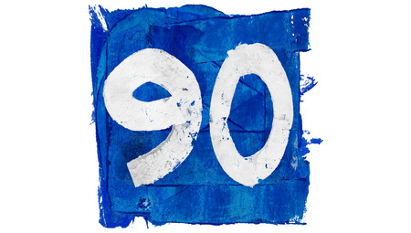 90: Number 90 painted with blue paint Stock Photo