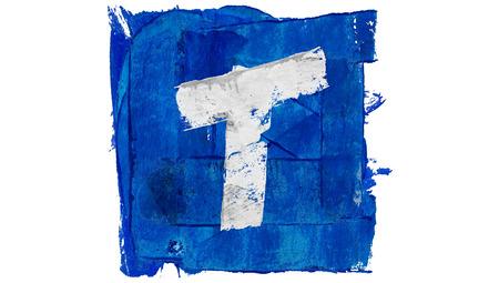 t square: Letter T sign of blue paint alphabet square set