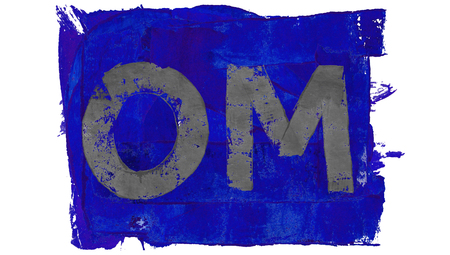 painted image: Om meditation painted image on blue paint