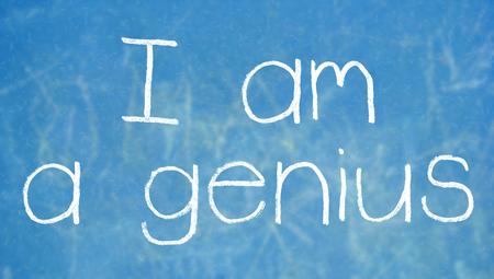 i am: I am a genius written with chalk on blue board