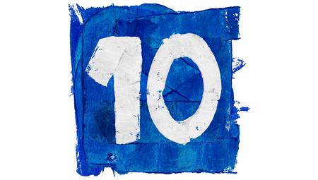 number 10: Number 10 of blue art calendar days set Stock Photo
