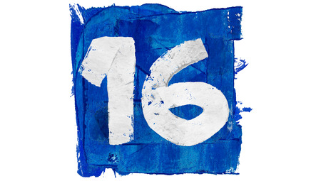 16: Number 16 in blue paint square