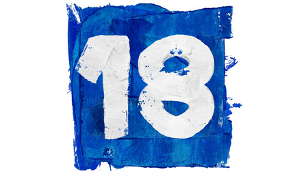Number 18 painted with blue paint square