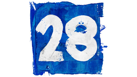 calendar day: Number 28 on blue paint of art calendar day set