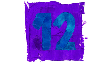 12 class: Number 12 of blue and violet colors paint