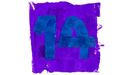 number 14: Number 14 painted with blue and purple paint colors