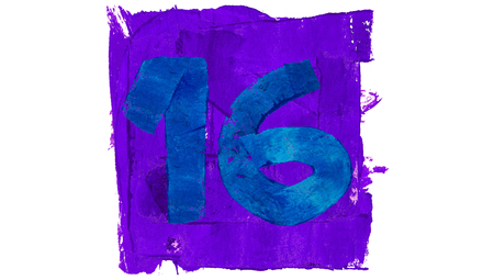 number 16: Number 16 of blue and violet painting colours Stock Photo