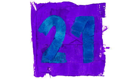 21: Number 21 of blue and violet paint paintbrushes