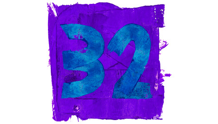 32: Number 32 of blue and purple paint Stock Photo