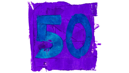 number 50: Number 50 of paint colours in purple square with blue numbers