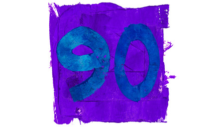 90: Number 90 of blue and purple painting colours Stock Photo