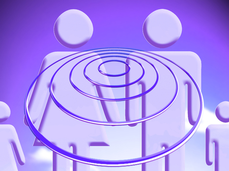 Purple illustration of familiar group hypnosis thinking about future projections
