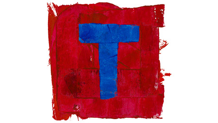 t square: Letter T symbol of paint alphabet in red and blue square Stock Photo