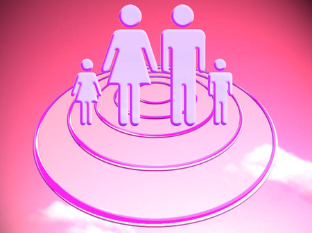 stock image: Family on target conceptual stock image illustration