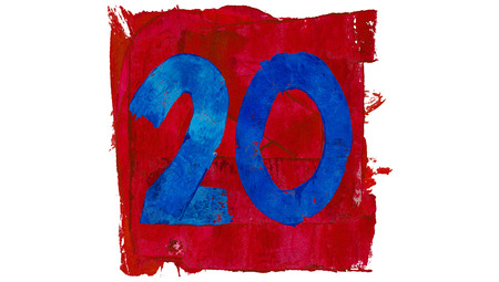 educative: Number twenty or 20 painted with blue on red square
