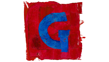 educative: Letter G sign of alphabet in blue and red painting paintbrushes Stock Photo