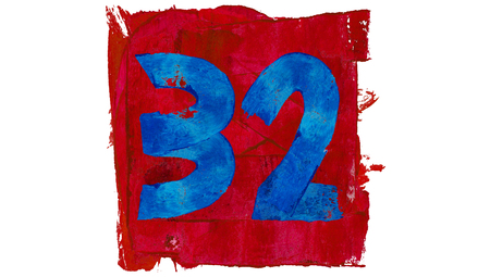 32: Paint colors numbers of number 32 in red and blue square