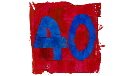 40: Number 40 or fourty in red and blue painting colors Stock Photo