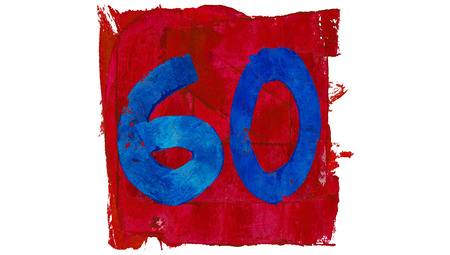 sixty: Sixty or 60 paint numbers in red and blue colors