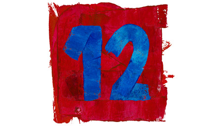 number 12: Number 12 of artistic calendar day in red and blue paint colors