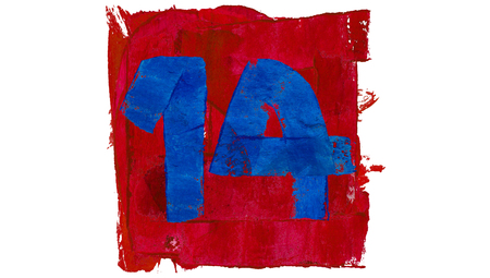 number 14: Number 14 of artistic calendar day in red and blue paint colors
