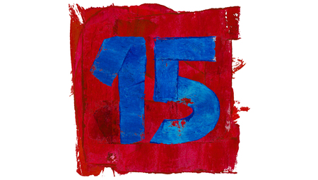 number 15: Number 15 of artistic calendar day in red and blue paint colors