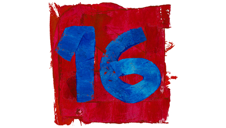 number 16: Number 16 of artistic calendar day in red and blue paint colors Stock Photo