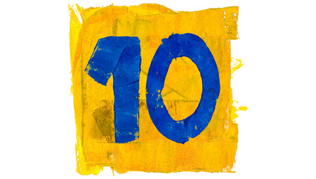 number 10: Number 10 or ten of blue and yellow paint colours