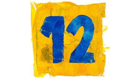 number 12: Number 12 twelve of blue paint in yellow square