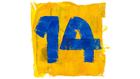 number 14: Number 14 paint in blue and yellow
