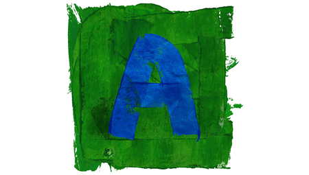 educative: Letter A symbol of blue paint in green square Stock Photo