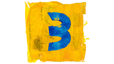 educative: Number 3 for art calendar with blue and yellow paintbrushes