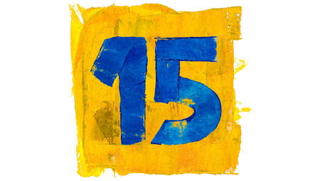 number 15: Number 15 of blue and yellow paint colors brushes